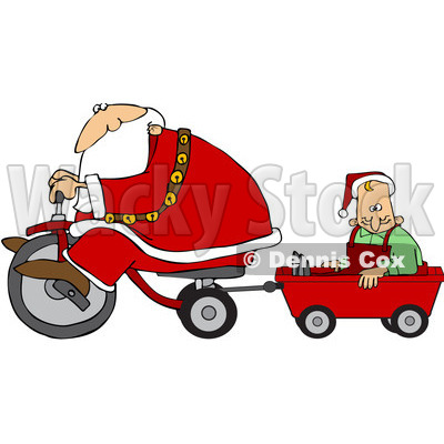 Royalty-Free (RF) Clipart Illustration of Santa Riding A Trike And Pulling An Elf In A Wagon © djart #100128