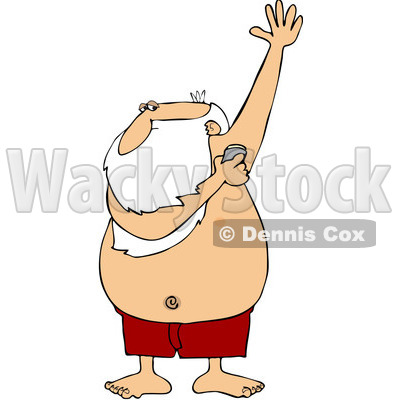 Boy putting on deodorant clip art