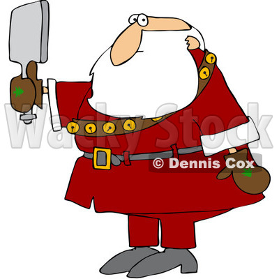 Royalty-Free (RF) Clipart Illustration of Santa Checking Himself Out In A Hand Mirror © djart #101260