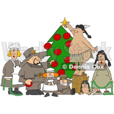Royalty-Free (RF) Clipart Illustration of Pilgrims And Native Americans Trimming A Christmas Tree Together © djart #101272