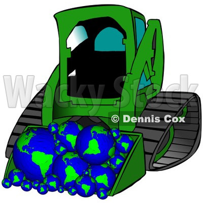 Royalty-Free (RF) Clipart Illustration of a Green Bobcat Tractor With A Load Of Globes © djart #101278