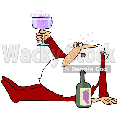 Royalty-Free (RF) Clipart Illustration of Santa Claus Sitting On The Floor In His Pajamas, Drunk Off Of Wine © djart #101701