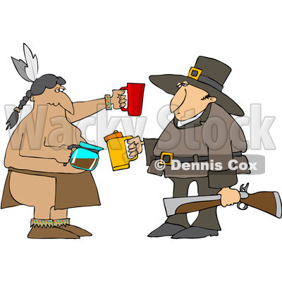 Royalty-Free (RF) Clipart Illustration of a Thanksgiving Pilgrim And Native American Drinking Coffee © Dennis Cox #102658