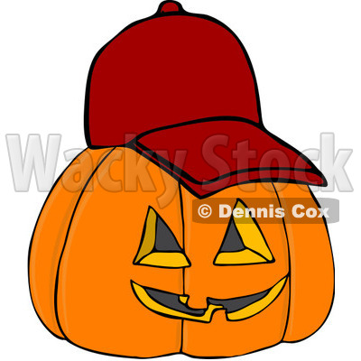 Royalty-Free (RF) Clipart Illustration of a Halloween Pumpkin Wearing A Red Baseball Cap © djart #104295