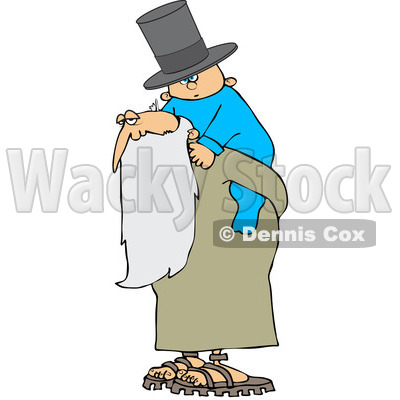 Royalty-Free (RF) Clipart Illustration of a New Year Baby Wearing A Top Hat And Riding On Father Time's Back © Dennis Cox #104299