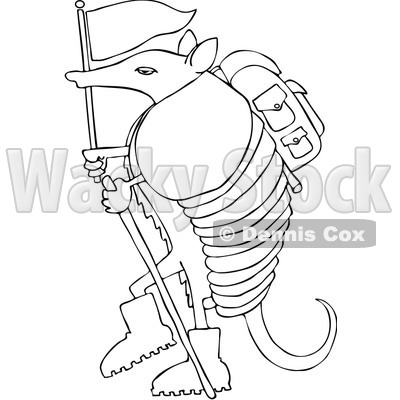 Royalty-Free (RF) Clip Art Illustration of a Hiker Armadillo With A Flag And Stick © djart #1044046