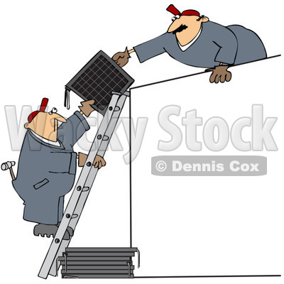Royalty-Free (RF) Clip Art Illustration of Solar Panel Installers Working Together © djart #1050670