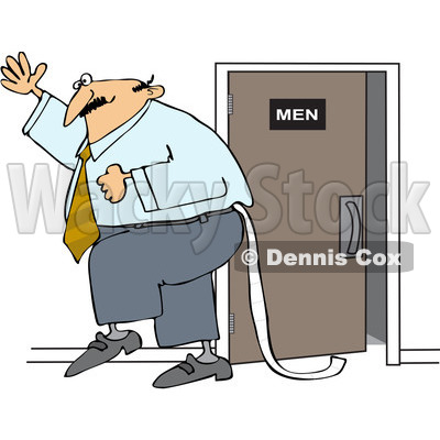 Royalty-Free (RF) Clip Art Illustration of a Businessman Dragging Toilet Paper Behind Him © djart #1050672