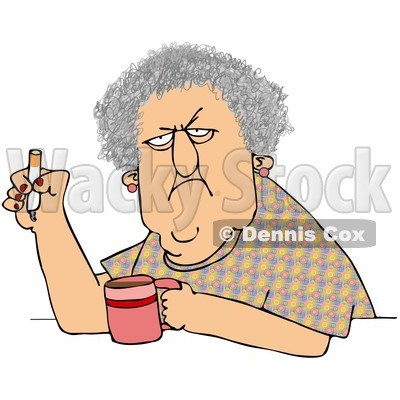 Royalty-Free (RF) Clip Art Illustration of a Grumpy Old White Woman Smoking A Cigarette Over Coffee © djart #1050679