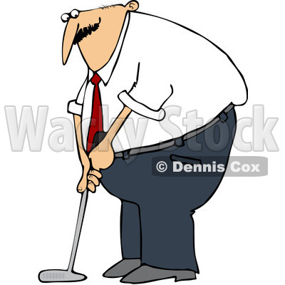 Royalty-Free (RF) Clip Art Illustration of a Businessman Golfing © djart #1050685