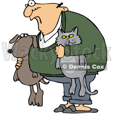 Royalty-Free (RF) Clip Art Illustration of a Man Holding His Dog And Cat © djart #1050687