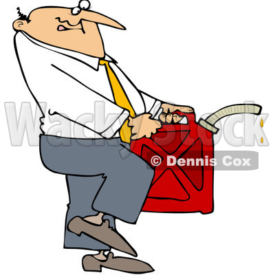 Royalty-Free (RF) Clip Art Illustration of a Businessman Carrying A Gas Can © djart #1050694