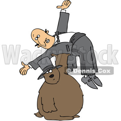 Royalty-Free (RF) Clip Art Illustration of a Groundhog Holding Up A Man