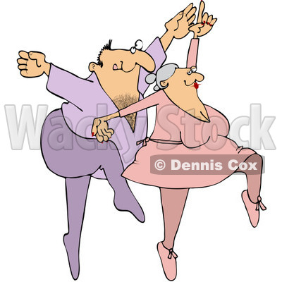 Royalty-Free Vector Clip Art Illustration of a Man And Woman Dancing Ballet © Dennis Cox #1051556