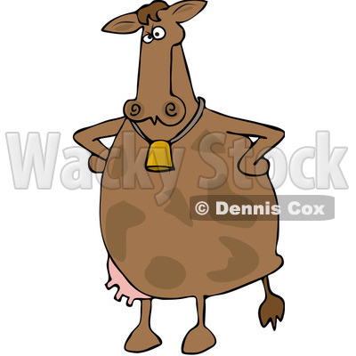 Royalty-Free Vector Clip Art Illustration of an Upset Cow Standing With Her Hands On Her Hips © djart #1052107