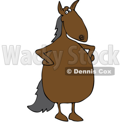 Royalty-Free Vector Clip Art Illustration of an Upset Horse Standing With His Hands On His Hips © djart #1052108
