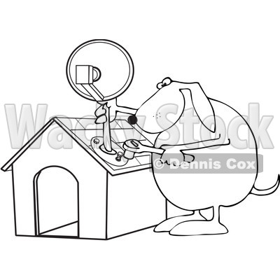 Royalty-Free Vector Clip Art Illustration of a Black And White Dog Attaching A Satellite To His House Outline © djart #1052987