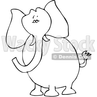 Royalty-Free Vector Clip Art Illustration of a Black And White Elephant Outline © Dennis Cox #1052999