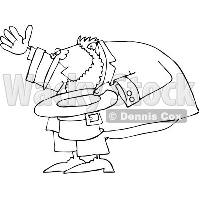 Royalty-Free Vector Clip Art Illustration of a Black And White Outline Of A Leprechaun Bowing © Dennis Cox #1053632