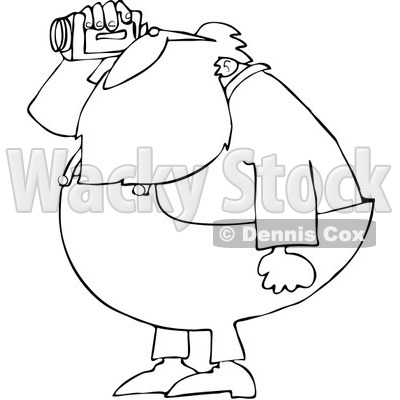 Royalty-Free Vector Clip Art Illustration of a Black And White Santa Using A Cam Corder Outline © djart #1054261