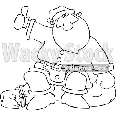 Royalty-Free Vector Clip Art Illustration of a Black And White Hitchhiking Santa Outline © djart #1054273