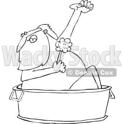 Royalty-Free Vector Clip Art Illustration of a Black And White Santa Bathing Outline © djart #1054274