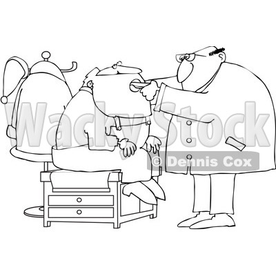 Royalty-Free Vector Clip Art Illustration of a Black And White Santa Seeing A Doctor Outline © djart #1054285