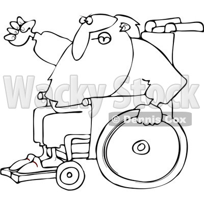 Royalty-Free Vector Clip Art Illustration of a Black And White Santa In A Wheelchair Outline © djart #1054291