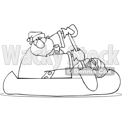 Royalty-Free Vector Clip Art Illustration of a Black And White Santa Canoeing Outline © djart #1054292