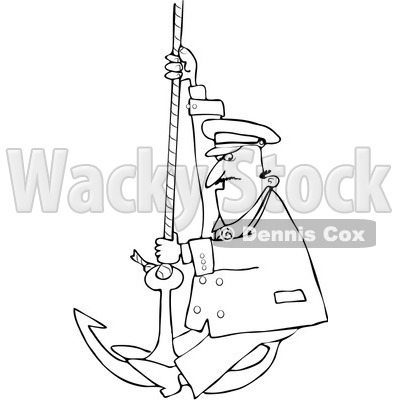 Royalty-Free Vector Clip Art Illustration of a Black And White Captain On An Anchor Outline © djart #1054299