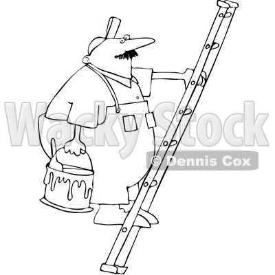 Royalty-Free Vector Clip Art Illustration of a Black And White Painter On A Ladder Outline © djart #1054308