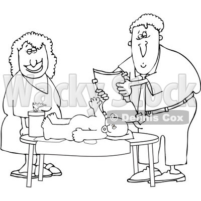 Royalty-Free Vector Clip Art Illustration of a Black And White Father Changing A Baby Diaper Outline © djart #1054315