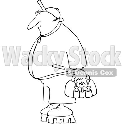 Royalty-Free Vector Clip Art Illustration of a Black And White Worker With Tools Outline © djart #1054316