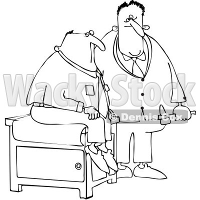 Royalty-Free Vector Clip Art Illustration of a Black And White Doctor And Patient Outline © djart #1054322