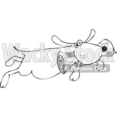 Royalty-Free Vector Clip Art Illustration of a Black And White Dog Fetching A Newspaper Outline © djart #1054338