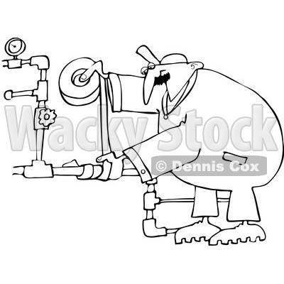 Royalty-Free Vector Clip Art Illustration of a Black And White Plumber Duct Taping Pipes Outline © djart #1054345