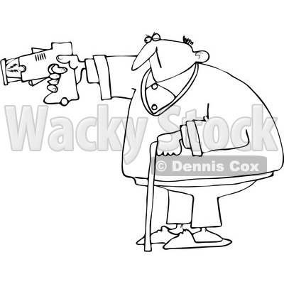 Royalty-Free Vector Clip Art Illustration of a Black And White Old Man Using A Taser Outline © djart #1054350