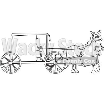 royalty free vector clip art illustration of a black and white amish buggy outline dennis cox 1054351 - Amish Children Coloring Book Pages