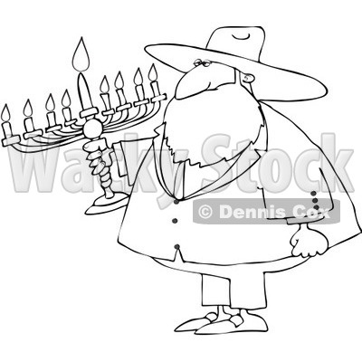 Royalty-Free Vector Clip Art Illustration of a Black And White Rabbi And Menorah Outline © djart #1054354