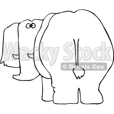Royalty-Free Vector Clip Art Illustration of a Black And White Elephant Behind Outline © djart #1054355
