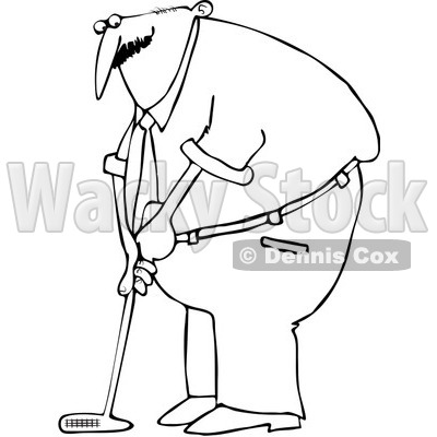 Royalty-Free Vector Clip Art Illustration of a Black And White Man Golfing Outline © djart #1054357