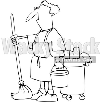 Royalty-Free Vector Clip Art Illustration of a Black And White Man Mopping Outline © djart #1054365