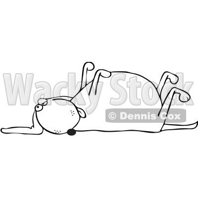 Royalty-Free Vetor Clip Art Illustration of an Outline Of A Dog Playing Dead © djart #1055083