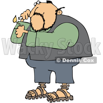 Royalty-Free Vetor Clip Art Illustration of a Man Lighting A Cigarette © djart #1055087