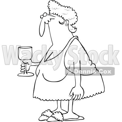 Royalty-Free Vector Clip Art Illustration of a Coloring Page Outline Of A Sexy Granny Holding Wine © djart #1055594