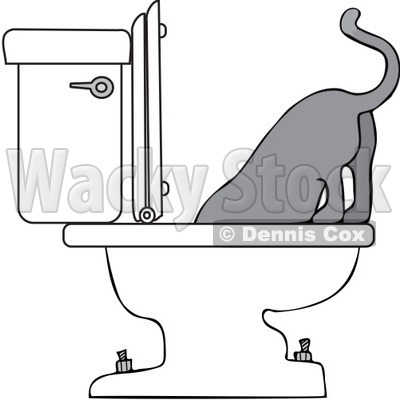 Royalty-Free Vector Clip Art Illustration of a Cat Drinking From A Toilet © djart #1055595