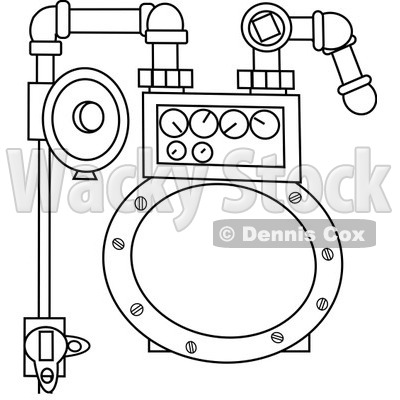 Royalty-Free Vector Clip Art Illustration of a Coloring Page Outline Of A Gas Meter © djart #1055596