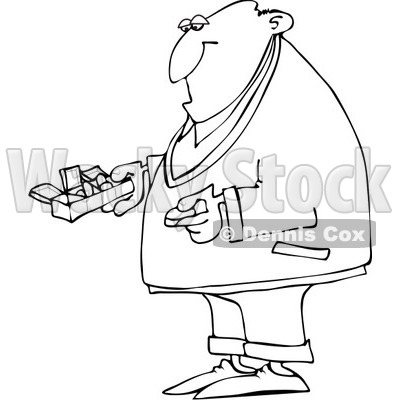 Royalty-Free Vector Clip Art Illustration of a Coloring Page Outline Of A Man Holding A Pill Organizer © djart #1055600