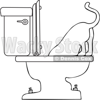 Royalty-Free Vector Clip Art Illustration of a Coloring Page Outline Of A Cat Drinking From A Toilet © djart #1055602