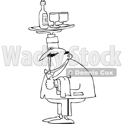 Royalty-Free Vector Clip Art Illustration of a Coloring Page Outline Of A Chubby Male Waiter Holding A Tray Of Wine Over His Head © djart #1055603